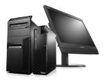 レノボ・ジャパンが発売した新型省スペースきょう体の法人向けデスクトップPC「SFF Pro」(前方右)と「Mini-Tower」(前方左)