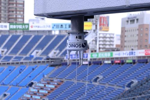 横浜スタジアム。空気環境の把握のために風速計を増設(写真:安川 千秋)