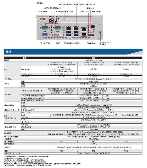 「AR2100モデル120N」の前面端子と主な仕様