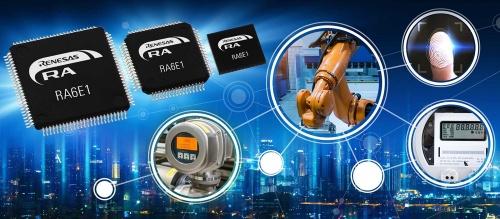 新製品の「RA6E1グループ」と応用イメージ