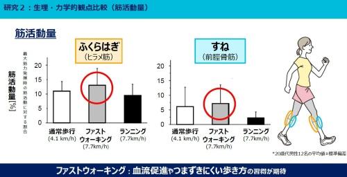 図2 歩き方・走り方による筋活動量