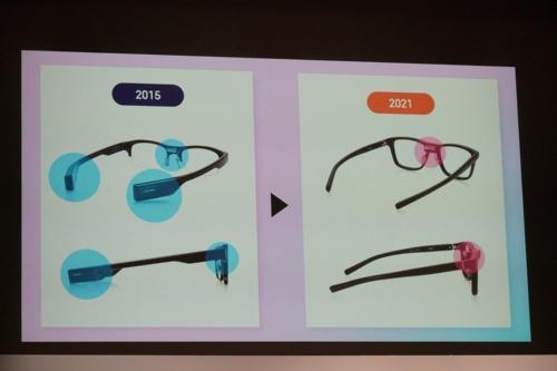 新製品は小型のセンサーやバッテリーをフレームの鼻周りに集約した