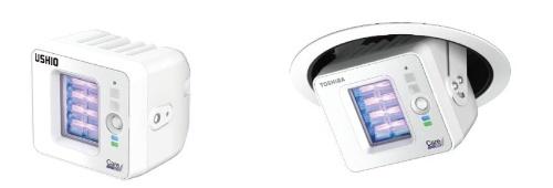 左がウシオ電機の「Care222 iシリーズ ベーシックタイプ」、右が東芝ライテックの「UVee(ユービー) ユニバーサルダウンライトタイプ」(出所:ウシオ電機、東芝ライテック)