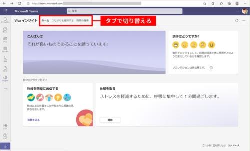 図3●インサイトの「ホーム」画面。自分へのメッセージや調子を伝えるためのアイコンなどが表示されている。