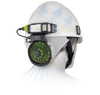 ヘルメット内と首元に涼風を送り込む「風雅ヘッド2」(資料:TJMデザイン)