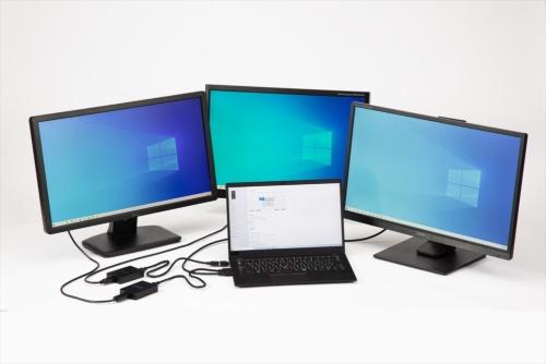 4画面のマルチディスプレー環境。ノートパソコン「ThinkPad X1 Carbon」のHDMI端子と3台の液晶モニターをアイ・オー・データ機器のディスプレーアダプター「USB-RGB3/H」を介して接続した