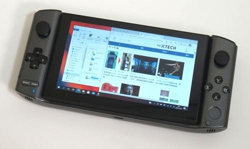 スライド式の液晶ディスプレーやゲーム用のコントローラーを搭載する中国Shenzhen GPD Technology(シンセンGPDテクノロジー)の「GPD WIN3」 (撮影:竹内 亮介、以下同じ)
