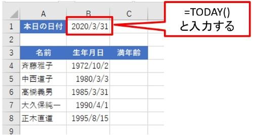 満年齢計算の土台となる表を作成した。ここでのポイントはB1に、本日の日付を返すTODAY関数を利用している点だ