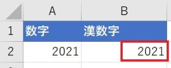 B2に入力してある算用数字「2021」を「二千二十一」に変換したい