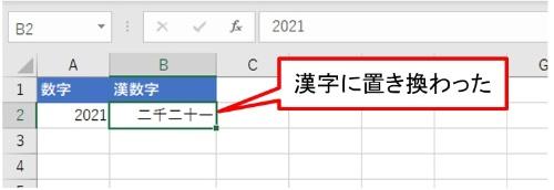 「OK」ボタンを押すと「2021」が「二千二十一」に置き換わる