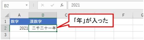 「OK」ボタンを押すと、B2の「二千二十一」が「二千二十一年」になった