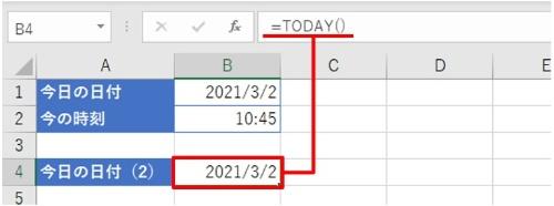 「=TODAY()」と入力して[Enter]キーを押す。一発で今日の日付を入力できた