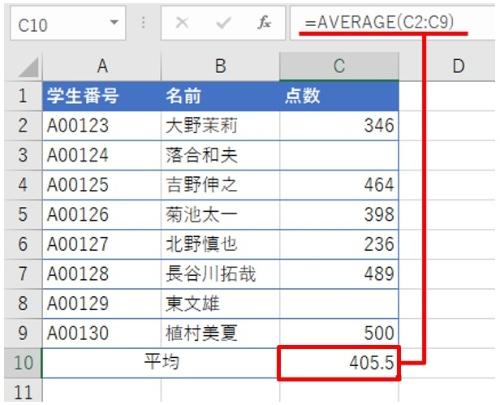 試験の平均点を出したい。C10は「=AVERAGE(C2:C9)」とした。平均値として「405.5」が返った