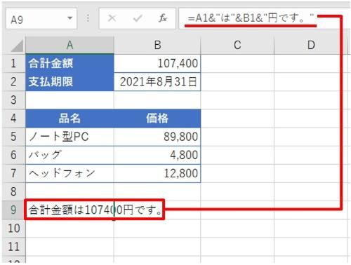 """A9に「=A1&""""は""""&B1&""""円です。""""」と入力した。「合計金額は107400円です。」が返った"""
