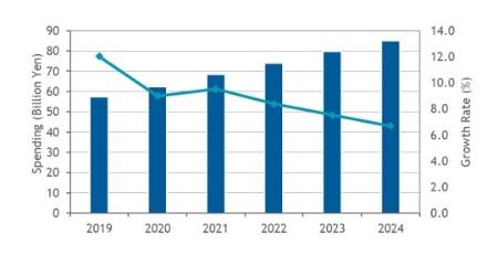 図1●国内のネットワーク仮想化/自動化市場支出額予測、2019年~2024年