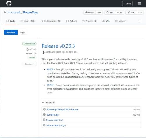 GitHub上にあるPowerToysのダウンロードページ。執筆時点では「Release v0.29.3」が最新(「PowerToysSetup-0.29.3-x64.exe」がインストーラー)