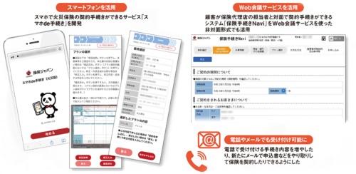 損害保険ジャパンのペーパーレス化施策の例。2020年以降取り組んできた。保険は非対面で契約する時代になっている