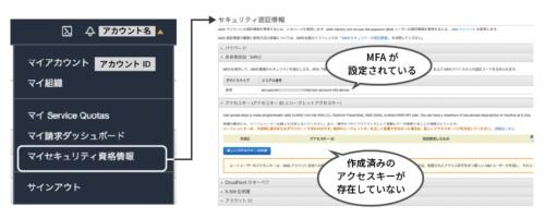 MFAとアクセスキーの確認