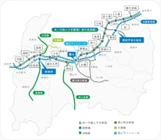 図●石動駅から越中宮崎駅まで、富山県を東西に走るあいの風とやま鉄道の路線区間