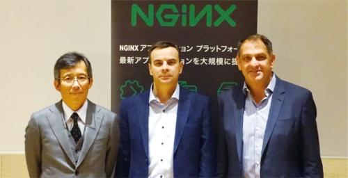 写真1●米NGINXの中島健ジャパンカントリーマネージャー(左)と同社の幹部