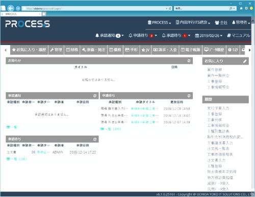 PROCES.Sエンタープライズバージョンの画面