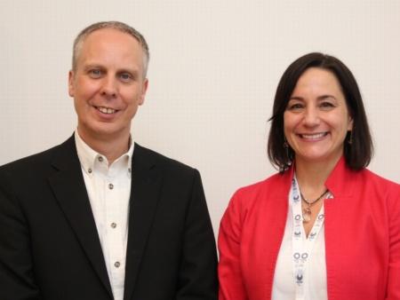 米シスコシステムズ パートナー マーケティング担当バイス プレジデントのミシェル・シャンテラ氏(右)と同社EMEAR 兼 グローバル カスタマー マーケティング エンゲージメント 担当バイス プレジデントのジェレミー・ベヴァン氏