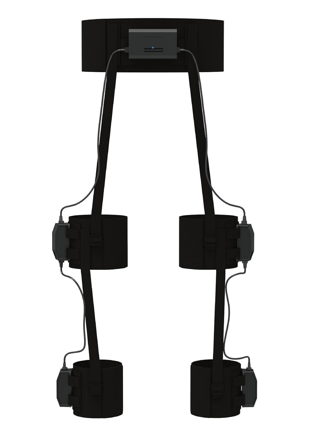 Shiftallが開発したボディートラッキング機器「HaritoraX」 両足と胸にセンサーを取り付けて五体の動きをトラックする。(出所:Shiftall)