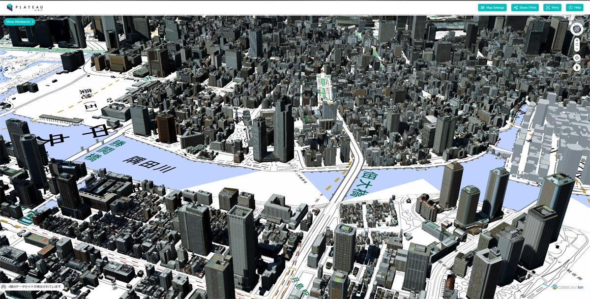 Webブラウザーで動作する専用ビューアー「PLATEAU VIEW」 PLATEAU VIEWを用いて東京都千代田区・中央区・港区の建物情報をテクスチャー付きで表示したところ。(出所:国土交通省)